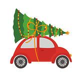 car with Christmas tree