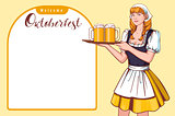 Beautiful young woman waiter holding tray with beer. Welcome Oktoberfest German beer festival