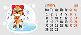 2018 year of yellow dog on Chinese calendar. Fun dog skier. Calendar grid month January