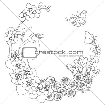 Spring floral elegant wreath coloring page