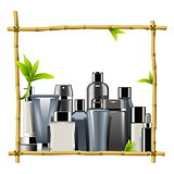 Vector Bamboo Frame with Male Cosmetics