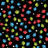 Seamless pattern with aliens. vector.