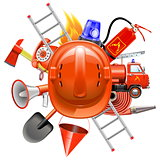 Vector Fire Prevention Concept with Helmet