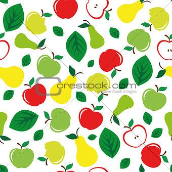 Apple and pear seamless pattern white background