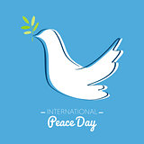 International peace day with drawing of a dove with olive branch