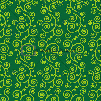 Abstract green doodle curve seamless pattern