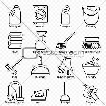 Cleaning, wash line icons. Washing machine, sponge, mop, iron, vacuum cleaner, shovel and other clining icon. Order in the house thin linear signs for cleaning service.