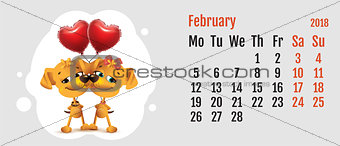 2018 year of yellow dog on Chinese calendar. Dog couple love. Calendar grid month February