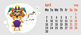 2018 year of yellow dog on Chinese calendar. Fun dog fools day. Calendar grid month April