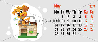 2018 year of yellow dog on Chinese calendar. Fun dog fortune telling on chamomile. Calendar grid month May