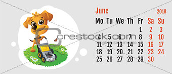2018 year of yellow dog on Chinese calendar. Fun dog lawn mower. Calendar grid month June