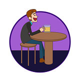 Man sitting in the bar and drinking a beer