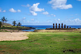Anakena palm beach and Moais statues site ahu Nao Nao, easter is