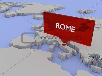 3d world map sticker - Rome