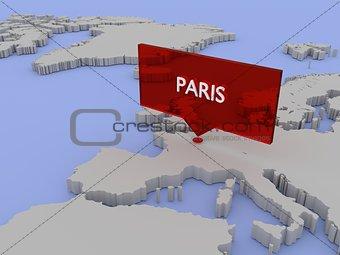 3d world map sticker - Paris