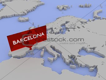 3d world map sticker - Barcelona