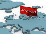 3d world map sticker - Stockholm