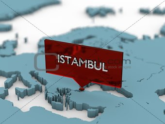 3d world map sticker - Istambul