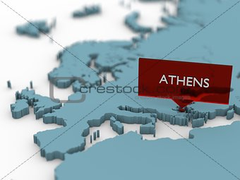 3d world map sticker - Athens