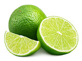Citrus lime fruit with slice and half isolated on white