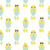Poodle cute blue and yellow seamless vector hipster pop pattern.