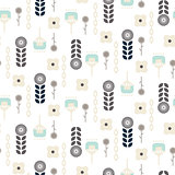 Scandinavian folk floral garden art pattern seamless vector.