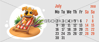 2018 year of yellow dog on Chinese calendar. Fun dog lies in deck chair. Calendar grid month July
