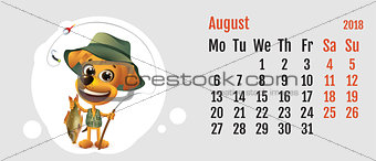 2018 year of yellow dog on Chinese calendar. Fun dog fisherman. Calendar grid month August