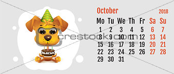 2018 year of yellow dog on Chinese calendar. Fun dog holding cake. Calendar grid month October