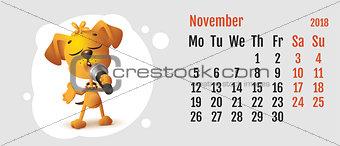 2018 year of yellow dog on Chinese calendar. Fun dog sings. Calendar grid month November