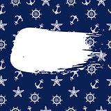 Blue Marine Pattern With Blot