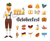 Smiling Bavarian man with red beard and moustache, dressed in traditional costume and hat with beer glasses and set of Oktoberfest icons. Traditional symbols of autumn holiday of beer isolated on white background. Cartoon style vector illustration