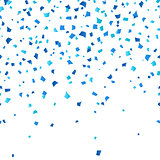 Blue Oktoberfest confetti on white background. Festive decoration in traditional colors of German national beer festival. Falling blue paper symbol of fall holiday in Germany.