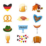 Traditional symbols of the Oktoberfest icons set. German national Oktoberfest objects isolated on white background. Cartoon style vector illusrtration