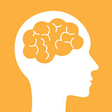 Brain vector icon. Simple silhouette symbol.