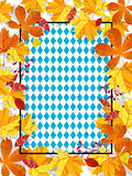 Autumn leaves on a background pattern of blue diamonds. Traditional fall Oktoberfest background. National German autumn beer festival design.Cartoon style vector illustration
