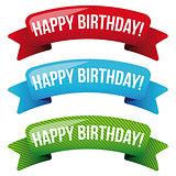 Happy Birthday vector ribbon