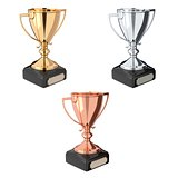 Golden, silver and bronze trophy set