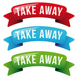 Take Away sign vector ribbon