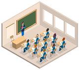 Classroom woman teacher and children. Isometric interior