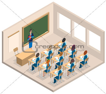 Classroom woman teacher and children. Isometric interior