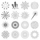 Firework icon set with petard, stars. Festival and event