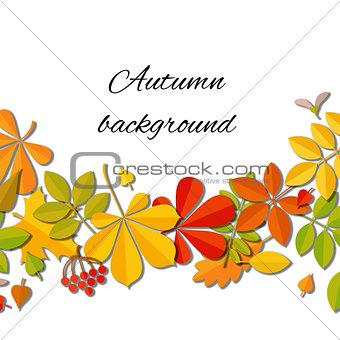 Autumn falling leaf isolated on white background.