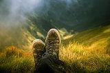 Portrait of a shepherd dog in a Carpathian landscapeA traveller resting in a mountain landscape in Carpathian mountains, Romania