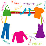 Colorful clothing and accessories frame with discounts