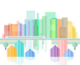 Abstract graphic cityscape illustration