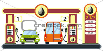 Cars on gas station.