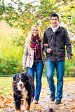 Woman and man with dog having autumn walk