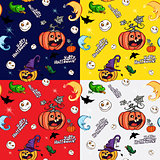 Halloween symbols in the Seamless pattern