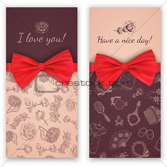 Sketch pattern and red ribbon bow.